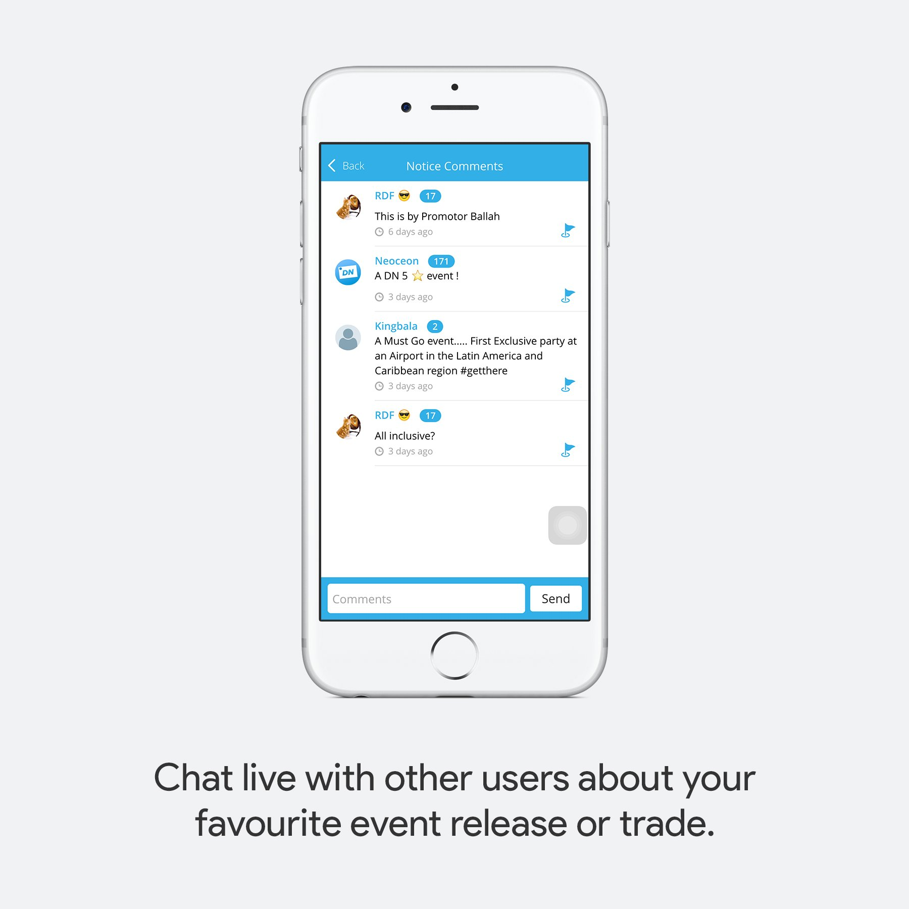 Chat live with other users about your favourite event release or trade.