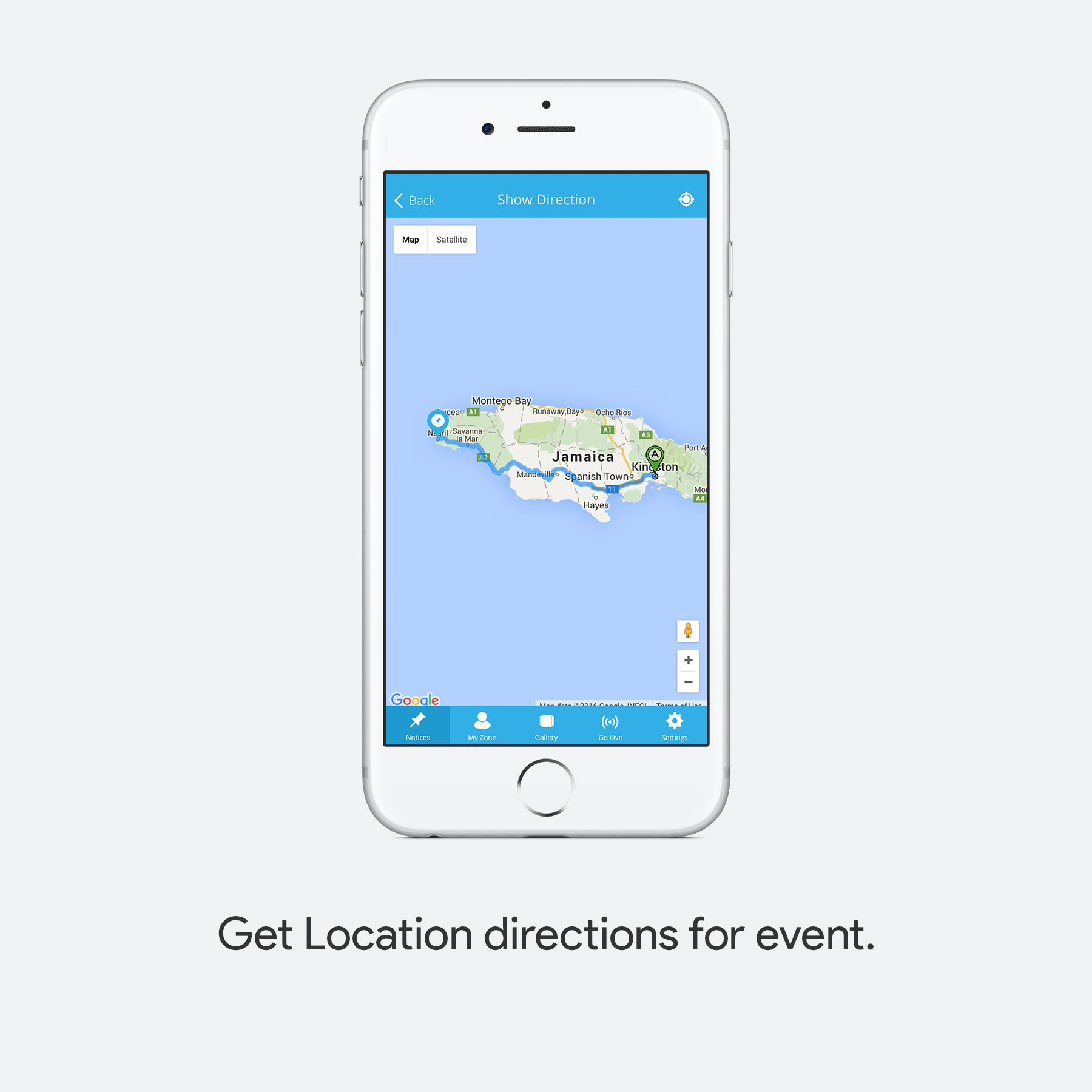 Get location directions for event