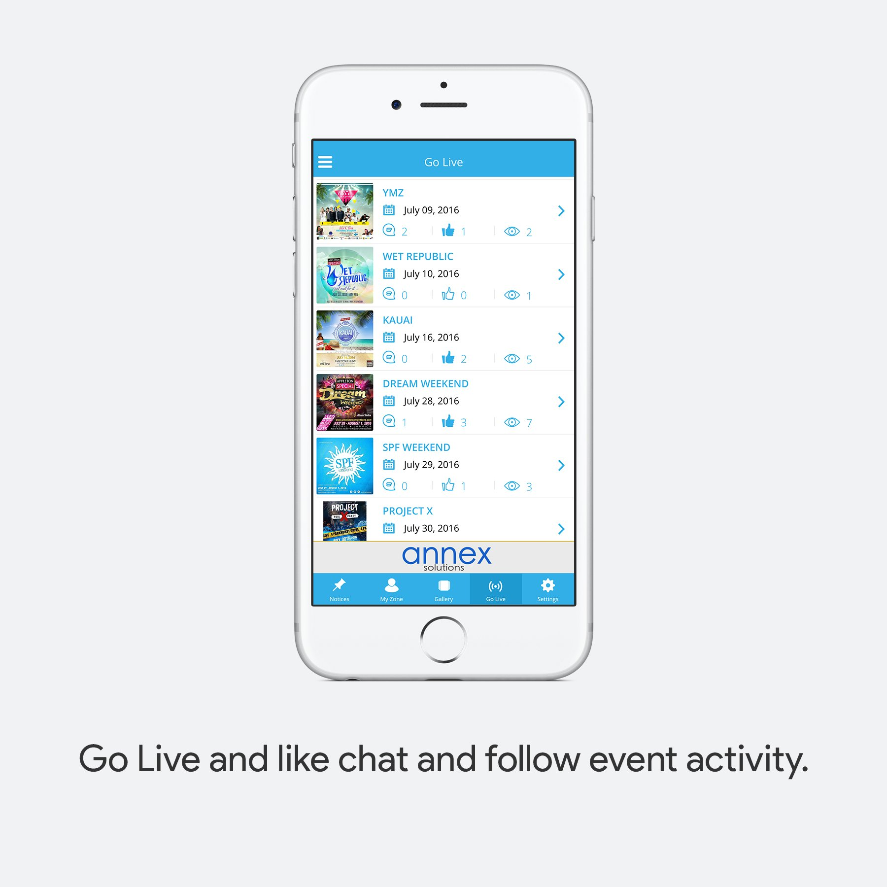 Go live and like chat and follow event activity.