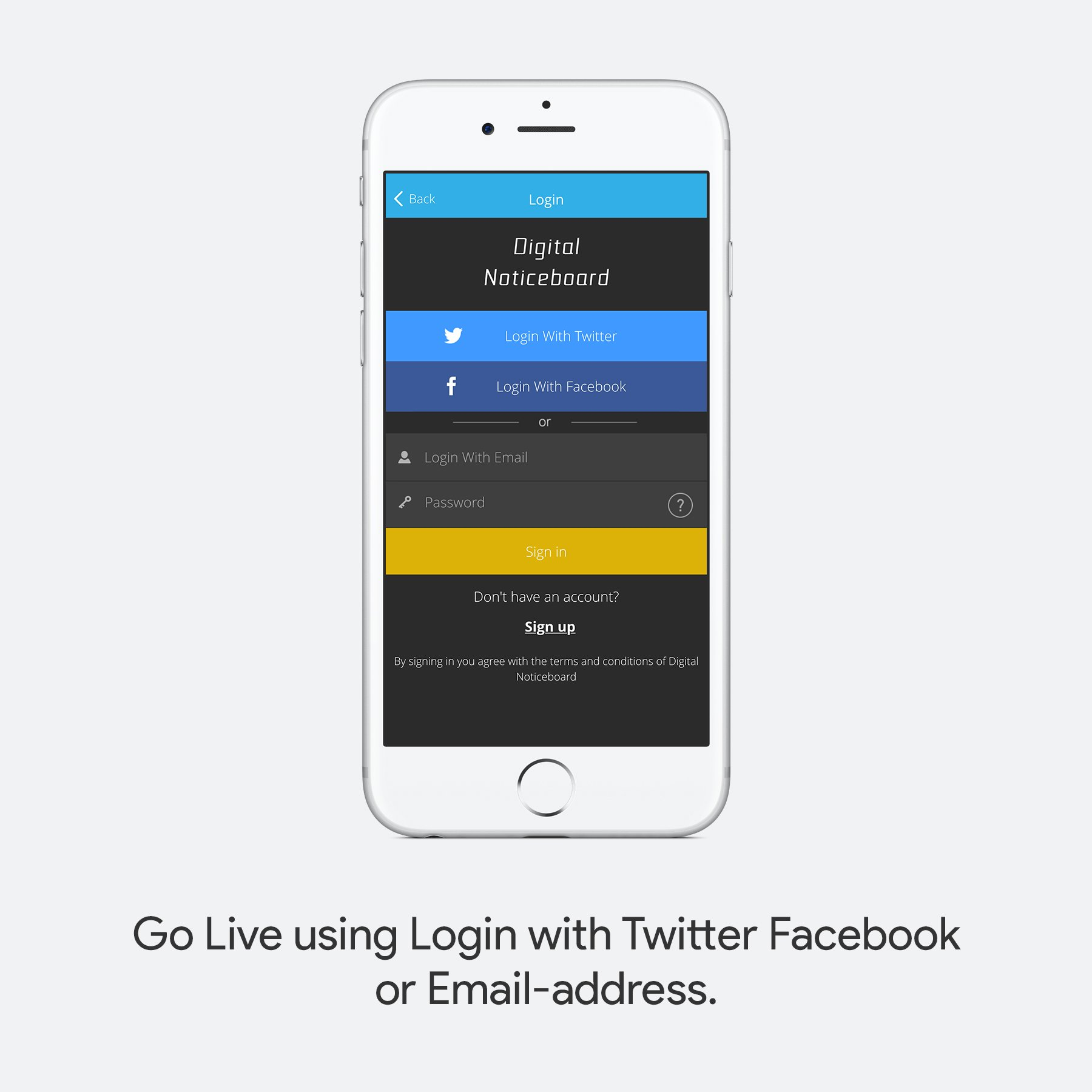 Go Live using login with Twitter Facebook or Email Address.