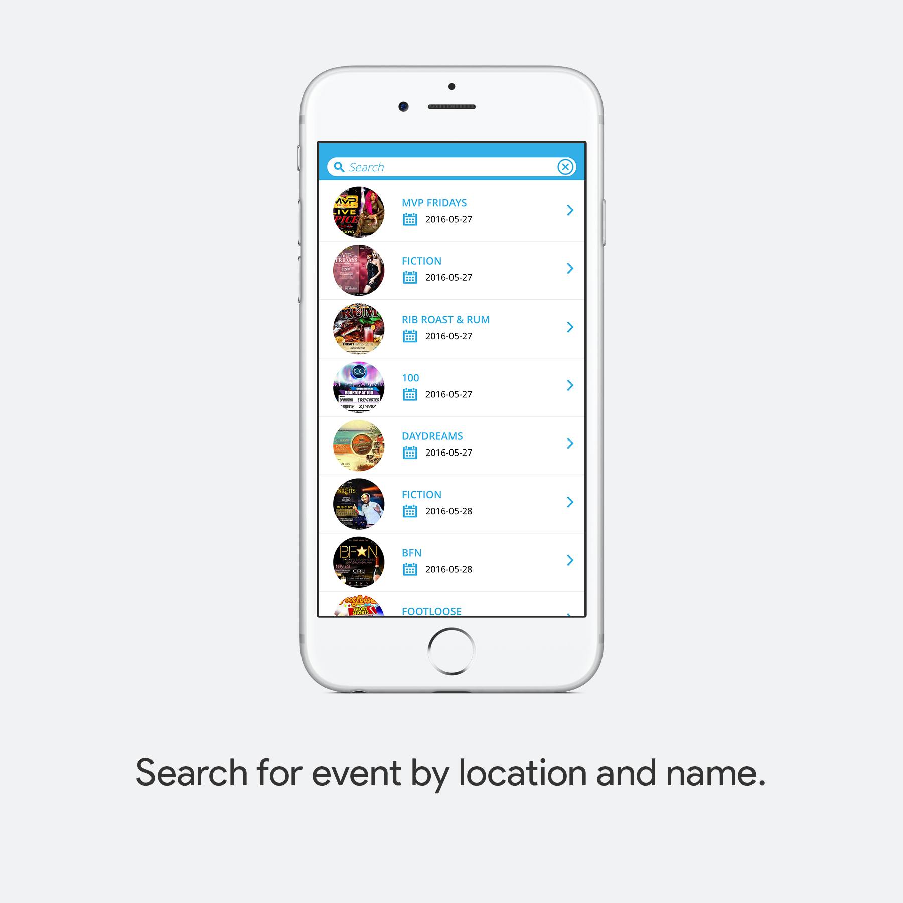 Search for Event by location and name.